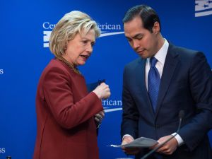 Secretary Julian Castro with Hillary Clinton.