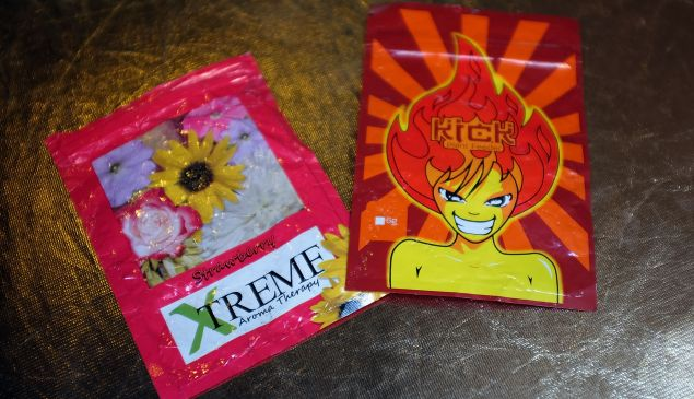 "In this photo illustration, packets of K2 or ""spice"", a synthetic marijuana drug, are seen in East Harlem on August 5, 2015 in New York City."