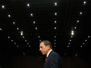 Retired US Army Gen. David Petraeus arrives at a Senate Armed Services Committee hearing on Capitol Hill September 22, 2015 in Washington, DC.