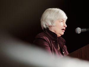 Federal Reserve Chairwoman Janet Yellen speaks during an event hosted by the Small Business Administration at the U.S. Chamber of Commerce in Washington, DC.