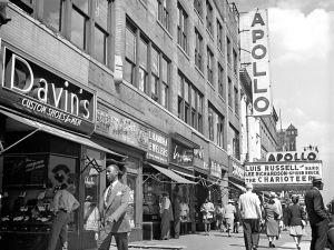 Harlem's famous jazz club the Apollo Theatre in the 1950s.