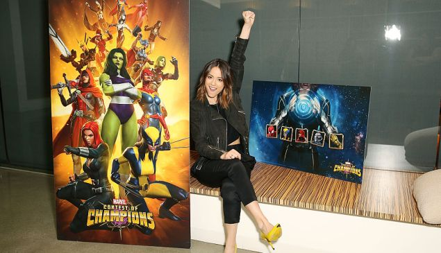 "LOS ANGELES, CA - MARCH 22: Marvel Agents of S.H.I.E.L.D. actress Chloe Bennet celebrates ""Women of Power"" with Marvel Contest of Champions mobile game on March 22, 2016 in Los Angeles, California."