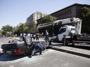 Destroyed cars pulled from the streets in Ankara during failed coup attempt in Turkey.