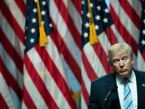 NEW YORK, NY - JULY 16: Republican presidential candidate Donald Trump speaks before introducing his newly selected vice presidential running mate Mike Pence, governor of Indiana, during an event at the Hilton Midtown Hotel, July 16, 2016 in New York City. On Friday, Trump announced on Twitter that he chose Pence to be his running mate.