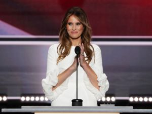 Melania Trump, wife of Presumptive Republican presidential nominee Donald Trump, delivers a speech on the first day of the Republican National Convention on July 18, 2016 at the Quicken Loans Arena in Cleveland, Ohio.