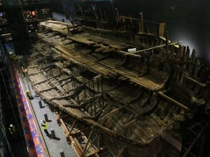 PORTSMOUTH, ENGLAND - JULY 19: Henry VIII's warship, the Mary Rose after a £5.4m museum revamp on July 19, 2016 in Portsmouth, England. The ship, which was raised from the Solent in 1982, was launched in Portsmouth in 1511 and sank in 1545 at the Battle of the Solent.