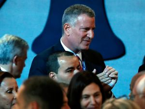 New York City Mayor Bill de Blasio attends the first day of the Democratic National Convention