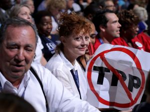 Susan Sarandon during the first day of the Democratic National Convention at the Wells Fargo Center, July 25, 2016 in Philadelphia, Pennsylvania.
