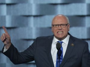 Congressman Joseph Crowley delivers remarks on the second day of the Democratic National Convention.