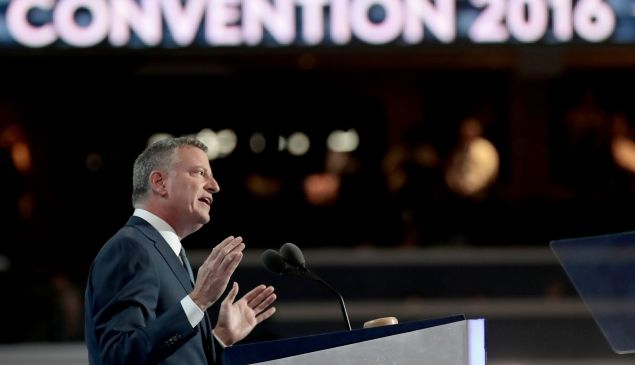 New York City Mayor Bill de Blasio delivers remarks on the third day of the Democratic National Convention