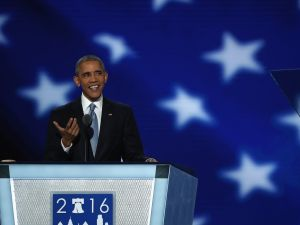President Barack Obama speaks at the Democratic National Convention.