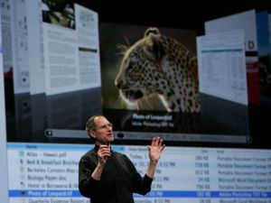 "Steve Jobs showing off Leopard in 2007, the first Mac OS to feature ""Time Machine."""