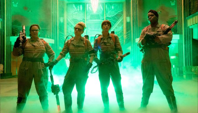 (L-R) Melissa McCarthy, Kate McKinnon, Kristen Wiig and Leslie Jones in Ghostbusters.