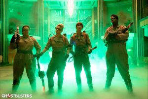 (L-R) Melissa McCarthy, Kate McKinnon, Kristen Wiig and Leslie Jones in Ghostbusters.
