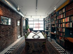 Host your next book party in this cozy Manhattan apartment library.