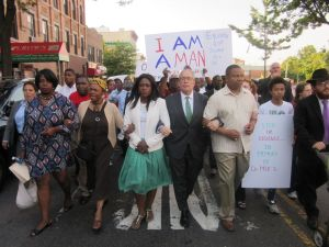 Comptroller Scott Stringer marched along with Sen. Jesse Hamilton, right, and Assemblywoman Diana Richardson, left, at the Unity in the Community Walk.