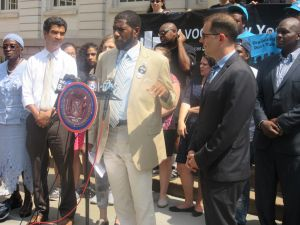 Councilman Jumaane Williams speaks about the proposed Right to Record Act in front of the City Hall steps.