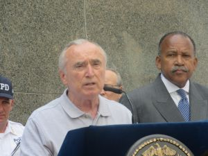 Police Commissioner Bill Bratton speaking at a press conference at the 84th Precinct in Brooklyn this morning.