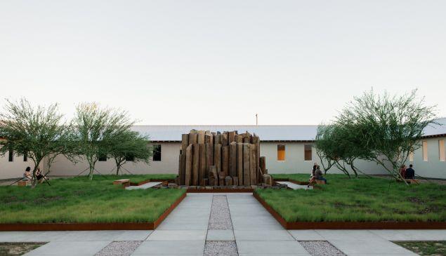 The interior courtyard of Robert Irwin's untitled installation