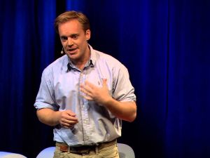 """Jules Evans delivering his talk, """"How Philosophy Can Save Your Life""""."""