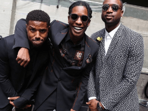 Basketballer Dwyane Wade poses with rapper A$AP Rocky and actor Michael Jordan at Men's Fashion Week Paris, two weeks ago.