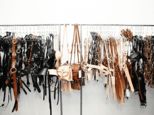 Racks on racks of Zana Bayne leather
