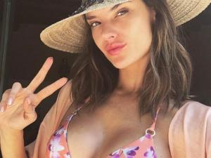 Alessandra Ambrosio snaps a selfie in summer's biggest trend.