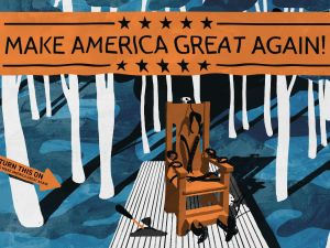 """A 1920's electric chair stands on a wooden base in the forest underneath the banner """"Make America Great Again"""" (see illustration). A phrase exploited by Donald Trump. This idea was created for a joint project we were developing with Banksy, yet plans for that show were postponed, so this concept is original and would make a great piece in the forest."""