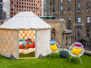 The 12 foot yurt can't be found at every hotel in the city.