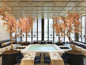 The Four Seasons dining room and pool.