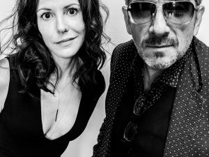 Mary-Louise Parker and Elvis Costello at St. Francis College in Brooklyn.