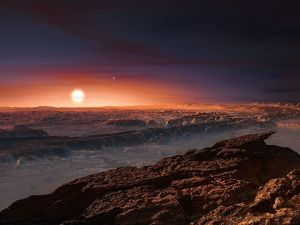 Artist's rendering of a view of the surface of the planet Proxima b orbiting the red dwarf star Proxima Centauri
