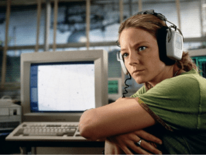 Jodie Foster as a SETI scientist in the film Contact, based on Carl Sagan's book about E.T communication.