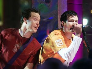 Blink 182 on 'MTV 2 Large' on New Year's Eve in MTV's Times Square studios, 12/31/99.