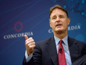 Former United States Senator, Evan Bayh, speaks onstage at the 2014 Concordia Summit - Day 1 at Grand Hyatt New York on September 29, 2014