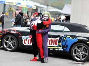 NEW YORK, NY - OCTOBER 10: Harley Quinn and the Joker propose to eachother during the 2014 New York Comic Con at Jacob Javitz Center on October 10, 2014 in New York City.
