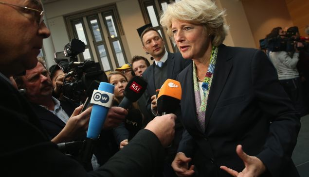 German State Culture Minister Monika Grütters speaks to the media after signing an agreement moments before with Swiss and Bavarian representatives over the future of the Gurlitt Collection on November 24, 2014 in Berlin, Germany. Cornelius Gurlitt, son of Nazi-era German art collector Hildebrand Gurlitt, horded a massive collection of art, much of it believed to originate from Jewish families persecuted by the Nazis, in his Munich apartment for decades until Bavarian tax authorites came across it last year in a revelation that stunned the art world. Cornelius Gurlitt has since died and bequeathed the collection to the Kunstmuseum Bern art museum, and the museum, today with the German government, announced it is accepting the collection and outlined its plan how it will deal with possible cliams from families and museums who might have a legitimate claim on the works.