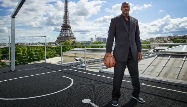 In this handout image provided by Jordan Brand, Michael Jordan paid a visit to Palais 23 this afternoon on Friday June 12, Joined by his frequent partners-in-design Tinker Hatfield and Mark Smith, key figures in the 30-year evolution of the Air Jordan, Jordan has returned to Paris to mark the 30th anniversary of 1985's Air Jordan One. Palais 23 is a spectacular tribute to the shoes, moments, designs and artifacts that have shaped the 30-year evolution of the Air Jordan.