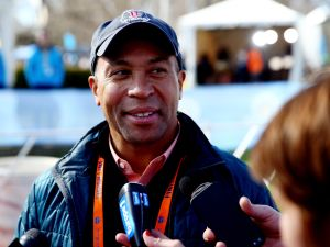 Governor Deval Patrick speaks to the media after the start of the Mobility Impaired division of the 118th Boston Marathon on April 21, 2014 in Hopkinton, Massachusetts.