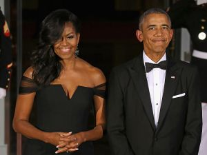 Michelle Obama has been credited with making the of-the-shoulder dress popular.
