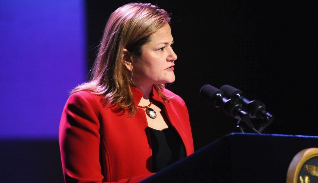 City Council Speaker Melissa Mark-Viverito speaks on stage at the World AIDS Day 2015.