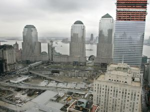 Work underway in 2005 on 7 World Trade Center (R), the first building to be reconstructed at the site of the 2001 World Trade Center terrorist attacks.