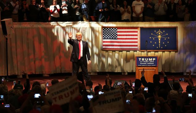 CARMEL, IN - MAY 02: Republican presidential candidate Donald Trump speaks during a campaign stop at the Palladium at the Center for the Performing Arts on May 2, 2016 in Carmel, Indiana. Trump continues to campaign leading up to the state of Indiana's primary day on Tuesday.