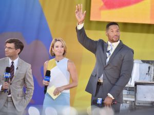 """Good Morning America"" Co-hosts George Stephanopoulos, Amy Robach, and Former Michael Strahan interact with fans on ABC's ""Good Morning America"" at Rumsey Playfield, Central Park on June 10, 2016 in New York City."
