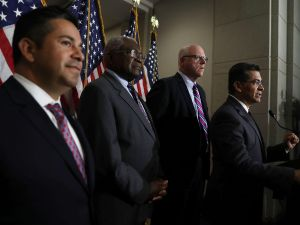 WASHINGTON, DC - JUNE 22: (R-L) House Democratic Caucus Chair Rep. Xavier Becerra (D-CA) speaks to members of the media as House Democratic Caucus Vice Chair Rep. Joseph Crowley (D-NY), Assistant Minority Leader Rep. James Clyburn (D-SC) and Chairman of Democratic Congressional Campaign Committee Rep. Ben Ray Lujan (D-NM) listen after a House Democratic Caucus meeting June 22, 2016 on Capitol Hill in Washington, DC