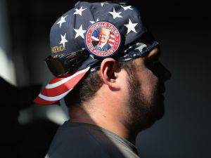 Supporters of Republican presidential candidate Donald Trump listen to him speak on July 27, 2016 in Scranton, Pennsylvania.