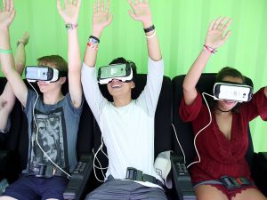 CHICAGO, IL - JULY 29: Festival goers experience Samsung Gear VR at Samsung VR-Palooza at Lollapalooza 2016 - Day 2 at Grant Park on July 29, 2016 in Chicago, Illinois.