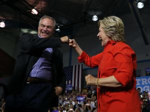 Democratic presidential nominee Hillary Clinton and democratic vice presidential nominee U.S. Sen Tim Kaine.