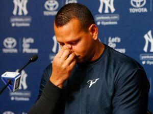 Alex Rodriguez tears up at a press conference yesterday. Rodriguez is set to play his last game in pinstripes on Friday.