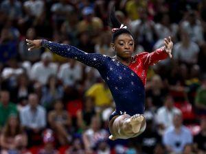 Simone Biles midair.